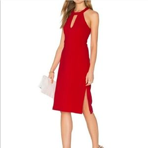 J.O.A. Red Halter Midi Dress